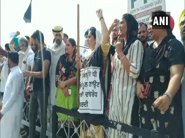 AAP workers protest in Bhatinda (Photo/ANI)
