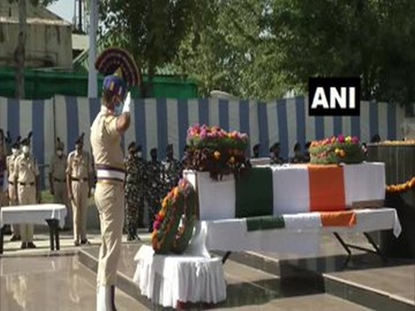The wreath laying ceremony was performed for CRPF ASI NU Badole in Srinagar on Thursday. (Photo/ANI)