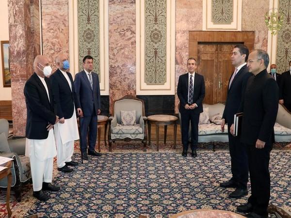 Afghanistan President with new Indian Ambassador Rudrendra Tandon on Saturday. (Photo credit: President's Spokesperson Sediq Sediqqi Twitter)
