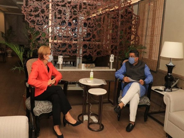 Union Minister for Petroleum and Natural Gas holding meeting with Steel Dharmendra Pradhan and Finland Ambassador Ritva Koukku-Ronde. (Photo credit: Ministry of Petroleum twitter)