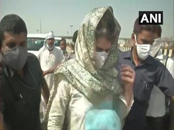 Congress leader Priyanka Gandhi Vadra walks along the Yamuna Expressway on Thursday. (Photo/ANI)