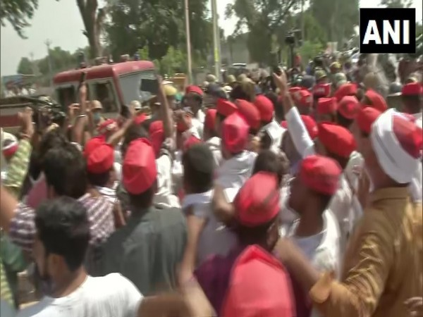 Visuals from the protest. (Photo/ANI)