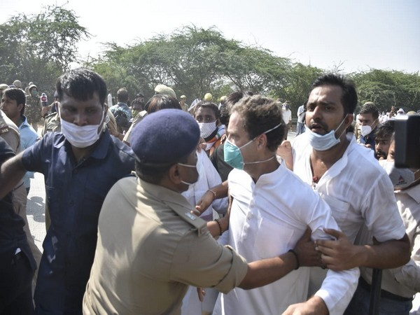 Congress leader Rahul Gandhi was roughed up by the Uttar Pradesh Police. (Photo/ANI)