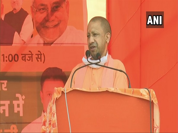 Uttar Pradesh Chief Minister Yogi Adityanath speaking at an election rally in Patna on Wednesday. [Photo/ANI]
