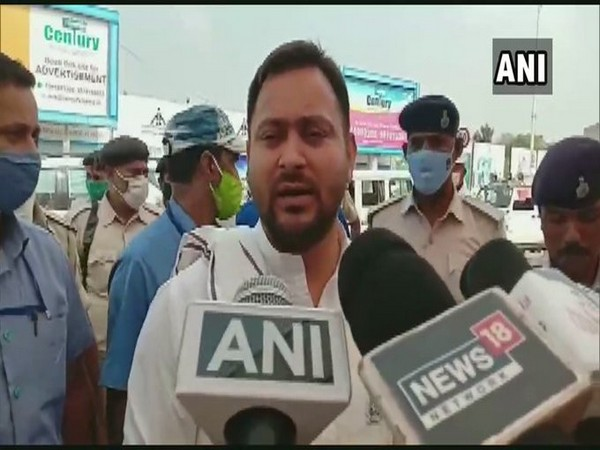 RJD leader Tejashwi Yadav speaking to the reporters on Thursday (Photo/ANI)