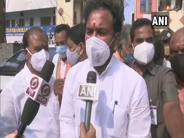 Telangana Minister of State (MoS), Home G Kishan Reddy speaking the media. (Photo/ANI)