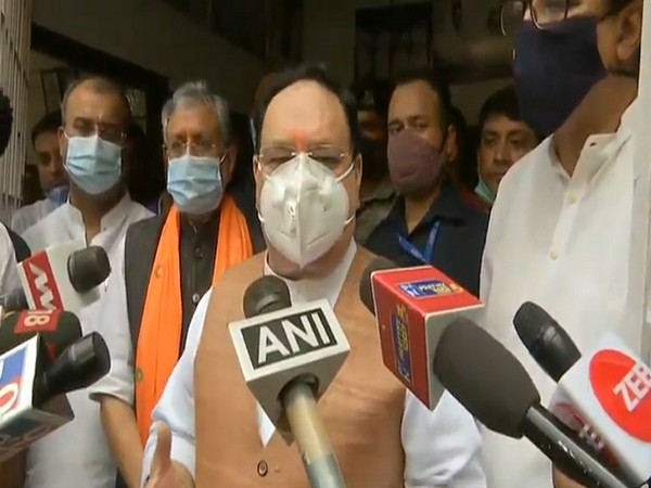 BJP chief JP Nadda speaking to reporters in Patna on Sunday. [Photo/ANI]