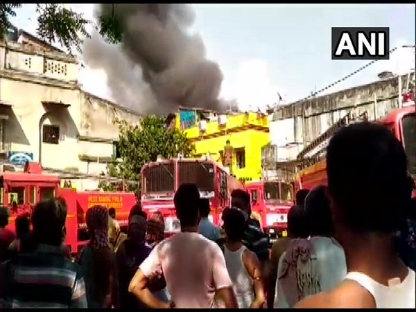 Fire fighting operation underway at a plastic factory in Kolkata (Photo/ANI)