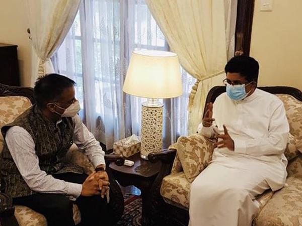 Indian High Commissioner Gopal Baglay with Minister of Energy of Sri Lanka, Udaya Gammanpila on Thursday. (Photo Credits: IndiaInSriLanka Twitter)