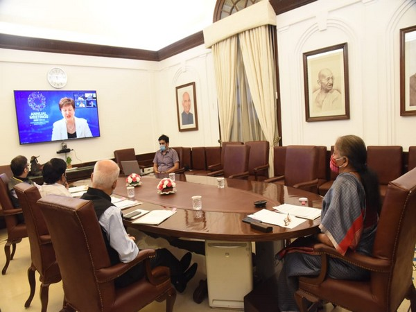 FM Nirmala Sitharaman attended a meeting with World bank and IMF officials on Friday through video-conferencing. [Photo/Ministry of Finance Twitter]
