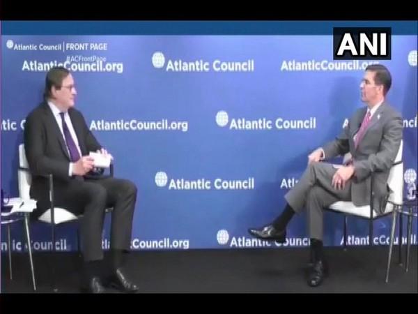 US Defence Secretary Mark Esper in conversation with Frederick Kempe, President of Atlantic Council. Photo/ANI