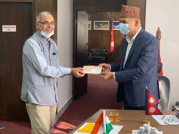 Indian Ambassador to Nepal, Vinay Mohan Kwatra meeting Nepal Finance Minister Bishnu Prasad Paudel at the latter's office on Tuesday.