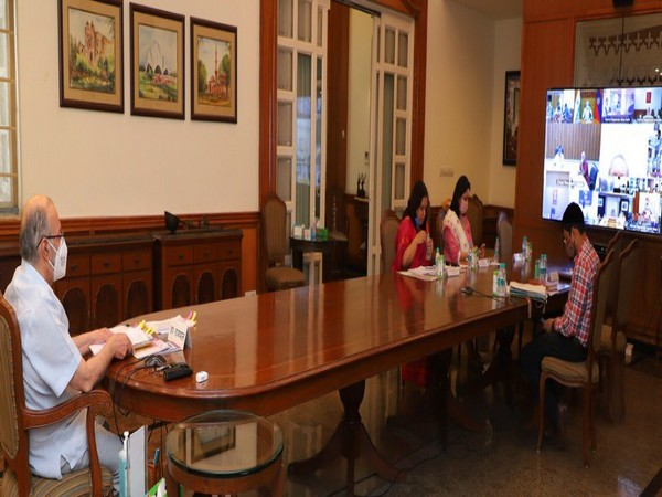 Delhi LG Anil Baijal at the COVID-19 review meeting. (Photo: @LtGovDelhi Twitter)