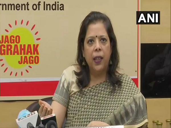 Consumer Affairs Secretary Leena Nandan speaking to reporters in New Delhi on Friday. [Photo/ANI]