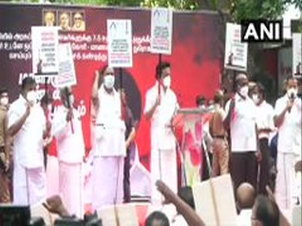 DMK staged a protest near Raj Bhawan, Chennai (Photo/ANI)