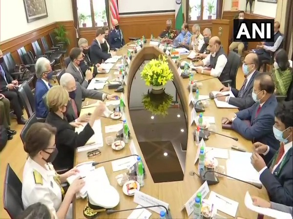 Defence Minister Rajnath Singh-led delegation holding meeting with US Secretary of Defence Mark Esper on Monday. Photo/ANI
