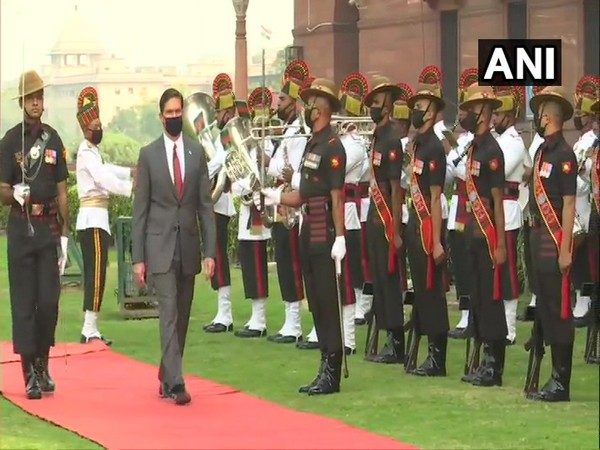 US Secretary of Defence Mark Esper, who is in India to participate in the third India-US 2+2 Ministerial Dialogue, was accorded Guard of Honour at the South Block on Monday. (Photo/ANI)