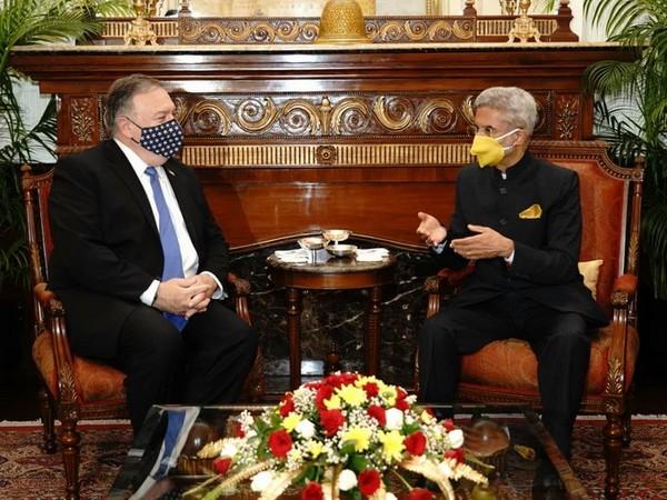 EAM S Jaishankar met US Secretary of State Michael Pompeo on Monday. Photo/ANI