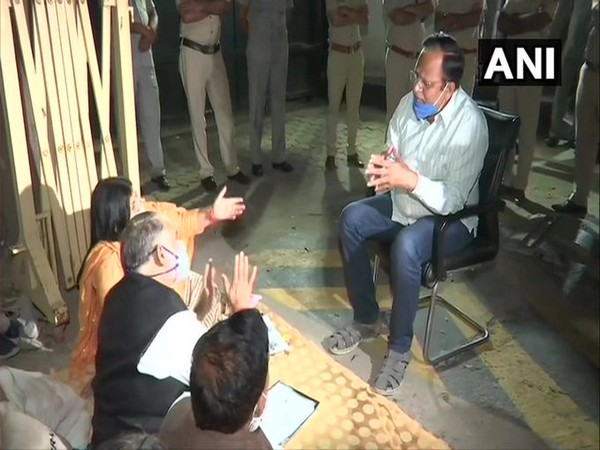 Delhi Health Minister Satyendar Jain meeting with three municipal corporations who were protesting outside Chief Minister's residence. Photo/ANI
