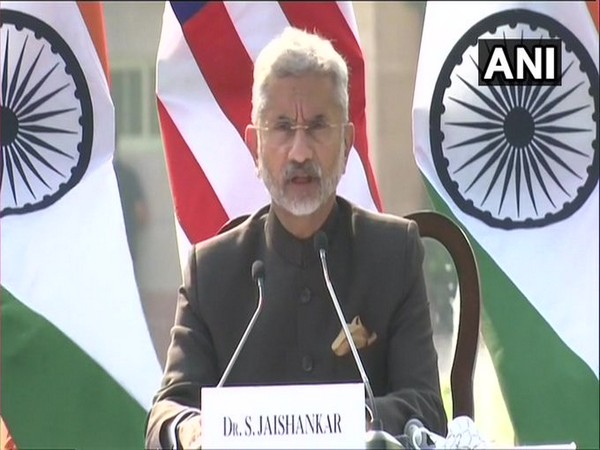 External Affairs Minister S Jaishankar speaking at the press conference after 2+2 Ministerial Dialogue. Photo/ANI