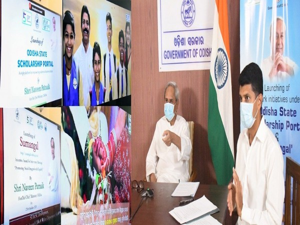 Odisha CM launching the two web portals.