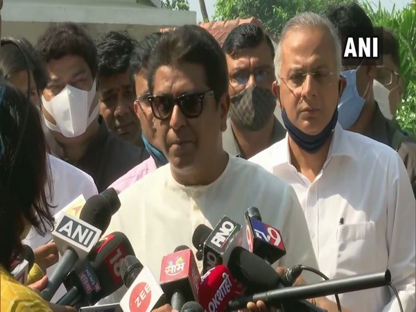 Maharashtra Navnirman Sena (MNS) chief Raj Thackeray speaking to the media after a meeting with the Governor. (Photo/ANI)