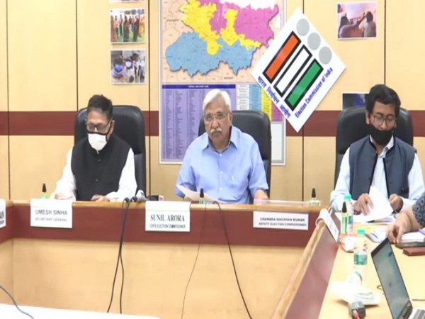 Visuals from the ECI press conference in New Delhi on Wednesday. Photo/ANI