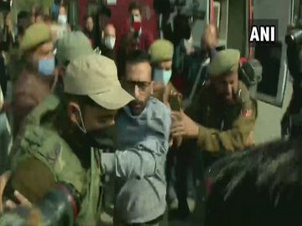 Visual of PDP workers being detained during a protest near Sports Complex in Srinagar. (Photo/ANI)