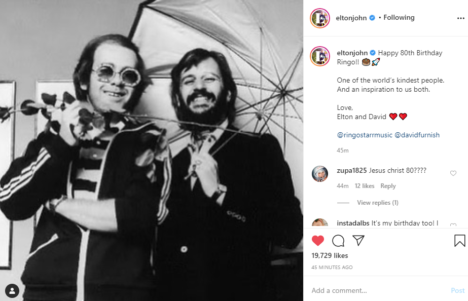 Elton John Extends Birthday Wishes To Ringo Starr As He Turns 80