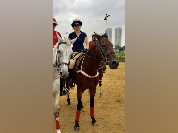 Actor Kangana Ranaut astride her horse. (Image Source: Twitter)