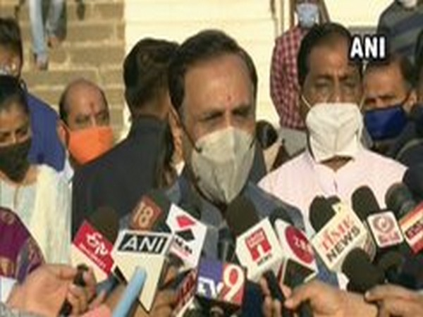 Gujarat Chief Minister Vijay Rupani speaking to reporters in Gujarat on Monday. Photo/ANI