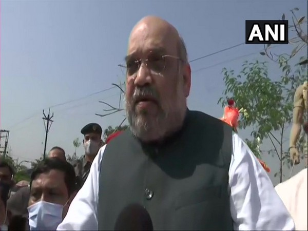Union Home Minister Amit Shah speaking to reporters in Bankura on Thursday. [Photo/ANI]