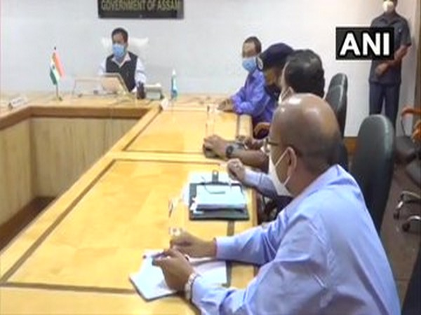 Assam Chief Minister Sarbananda Sonowal on Saturday reviewed the situation at Assam-Mizoram border (Photo/ANI)