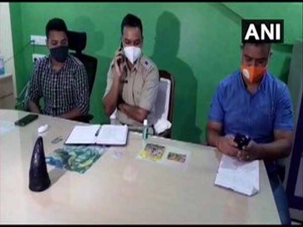 Dibrugarh and Duliajan Police arrest four persons in possession of a rhino horn (Photo/ANI)