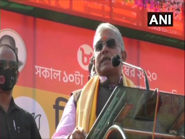 West Bengal BJP president Dilip Ghosh at the meeting in Haldia on Sunday. (Photo/ANI)