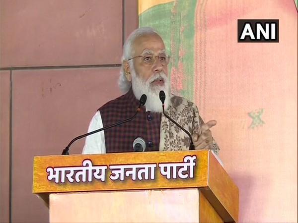 Prime Minister Narendra Modi at victory meet (Photo/ANI)