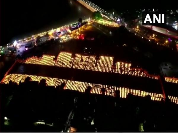 Aerial view of diyas in Ayodhya on Diwali. (Photo/ANI)