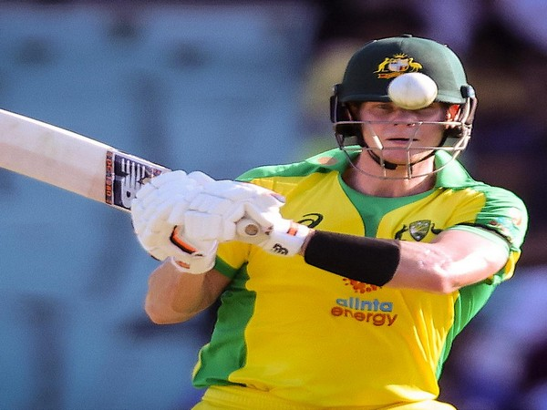 Steve Smith plays a shot during his 105-run knock against India (Photo: ICC twitter)