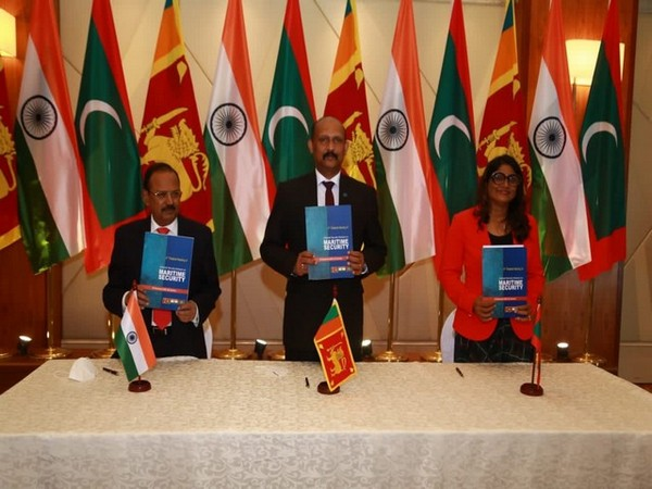 NSA Ajit Doval, Maldives foreign minister Mariya Didi and Sri Lankan Defence Secretary Major General (Retd.) Kamal Gunaratne. (Twitter/India in Sri Lanka)