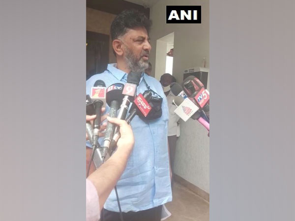 Karnataka Congress chief DK Shivakumar speaking to media persons in Bengaluru on Tuesday. [Photo/ANI]