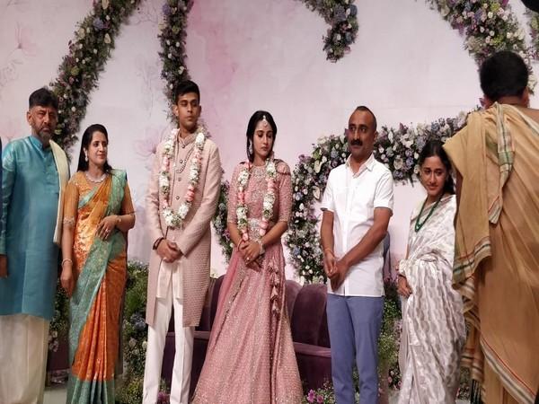 Visuals from Karnataka Pradesh Congress Committee (KPCC) chief DK Shivakumar's daughter's engagement ceremony (Photo/ANI)
