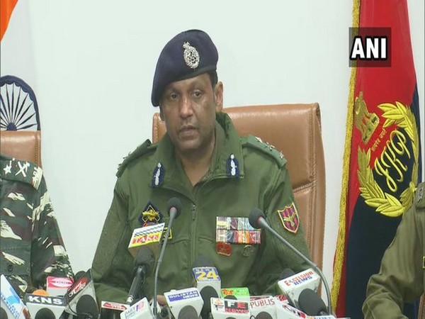 Mukesh Singh, IG, Jammu Zone addressing media on the Nagrota encounter. (Photo/ANI)