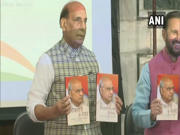 Defence Minister Rajnath Singh released the books containing 57 speeches of President Kovind in the presence of I&B Minister Prakash Javadekar in new Delhi on Thursday. [Photo/ANI]