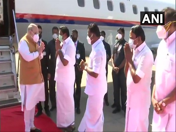 Union Home Minister Amit Shah was received by Tamil Nadu Chief Minister E Palaniswamy upon his arrival in Chennai [Photo/ANI]