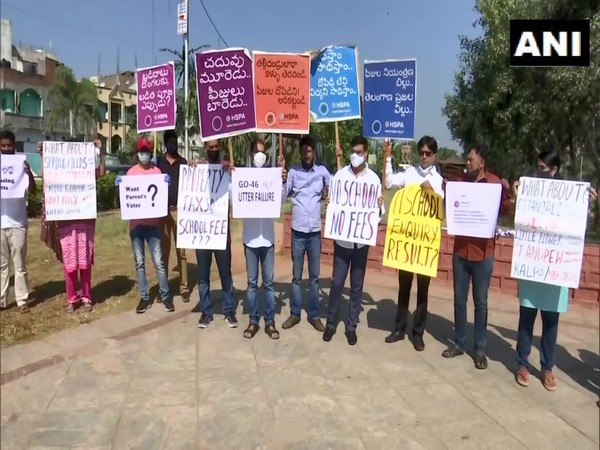 Parents protesting in Hyderabad. (Photo/ANI)