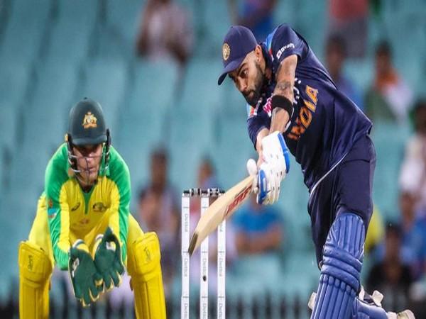 Indian skipper Virat Kohli in action against Australia (Photo/ ICC Twitter)