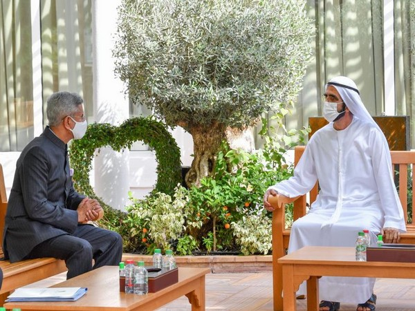 EAM S Jaishankar with UAE PM Mohammed bin Rashid Al Maktoum in UAE (Source: Twitter)