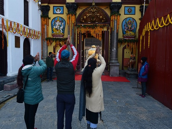 Devotees at Nepal's Pashupatinath Temple on Wednesday (Photo/ANI)