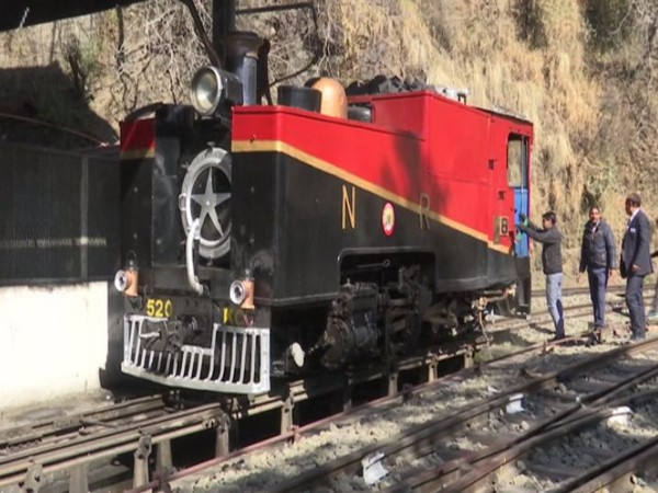 A 117-year-old steam engine being run on the Kalka-Shimla heritage line here on Wednesday.