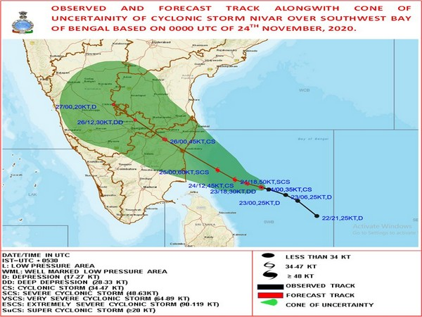Observed and forecasted track of Cyclone Nivar at 00:00 hours UTC on November 24 [Photo/IMD Twitter]